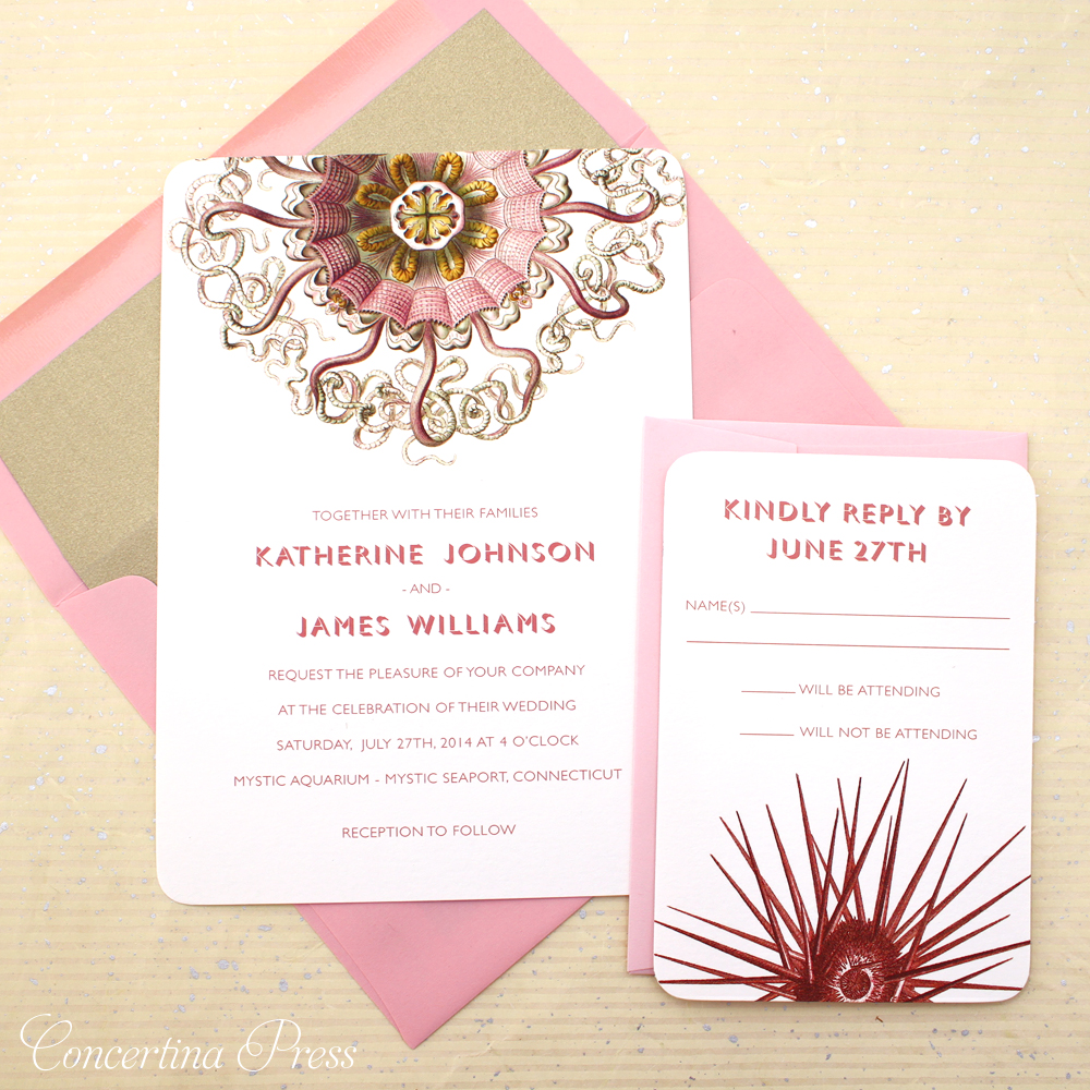 Pink Jellyfish Wedding Invitation Set with Sea Urchin RSVP card - Aquarium Wedding Inspiration