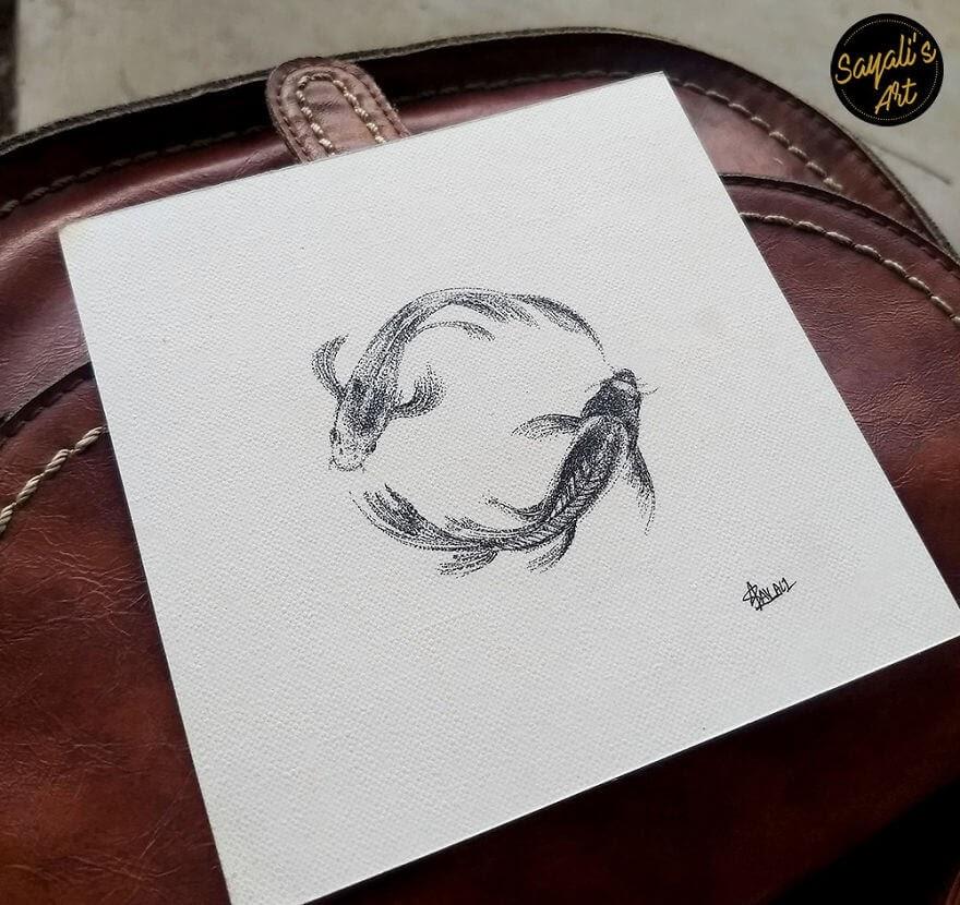 10-Infinity-Koi-Fish-Sayali-Horambe-Stippling-Dots-and-Creating-Drawings-www-designstack-co