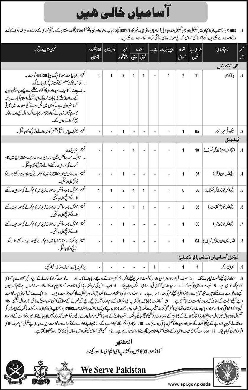 603 Base workshop EME Workshop jobs 2017,punjab jobs,sindh jobs,kpk jobs,inter jobs,HSM JOBS,SS1 JOBS, Balochistan Jobs, Jobs in Pak army, Technical Jobs