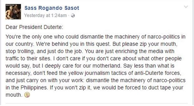 "'Zip Your Mouth, Carry On With Your Work"" Netizen Appeals to Duterte"