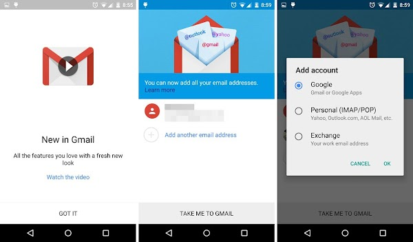 GMail for Android (5.0) screenshots