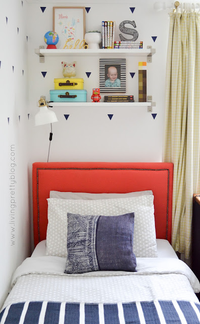 DIY Upholstered Bed on Boys Side - Blue Red Mint Kids Room - Shared Kids Room Reveal - One Room Challenge