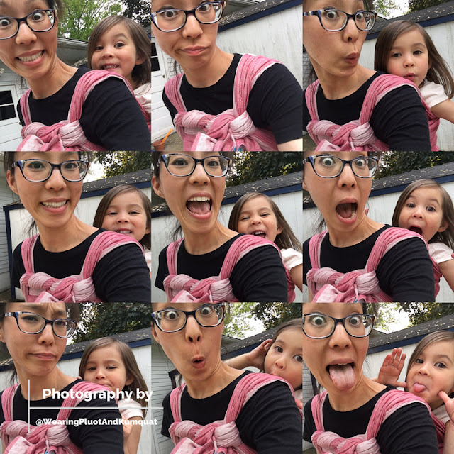 [Image consists of nine images of me, a light tan skin bespectacled Asian woman, with a preschooler on my back in a double hammock back carry with a candy cane chest belt using a pinkish reddish linen woven wrap. We are making silly faces to re-direct her energy from meltdowns.]