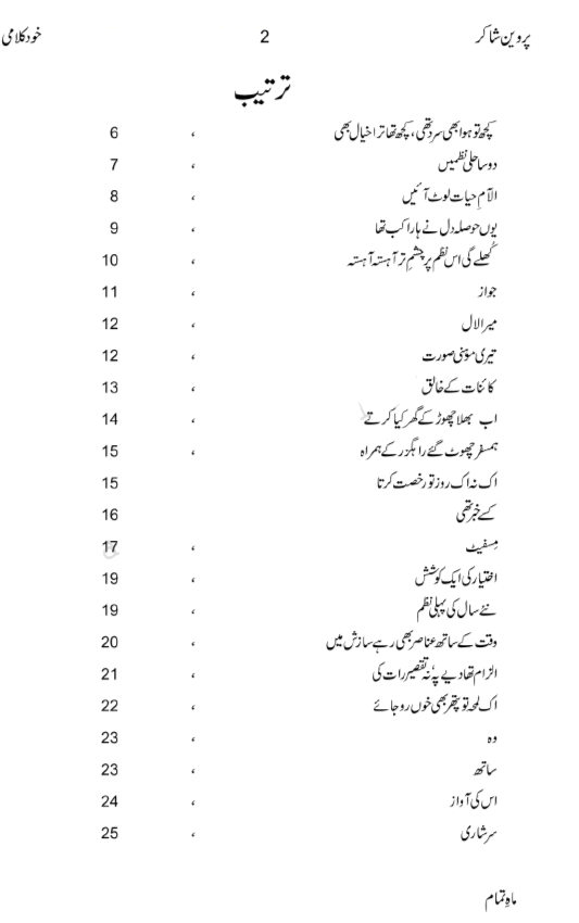 Parveen Shakir Poetry in Urdu Collection PDF