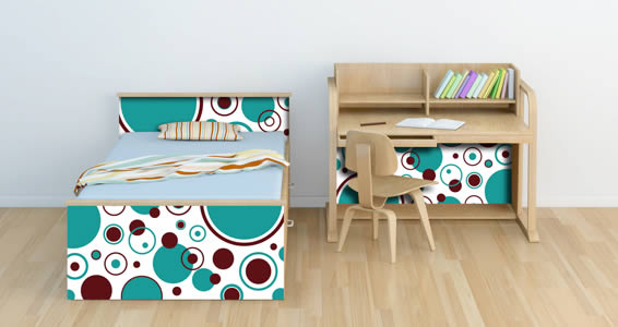 bed and desk furniture with bubbly decals