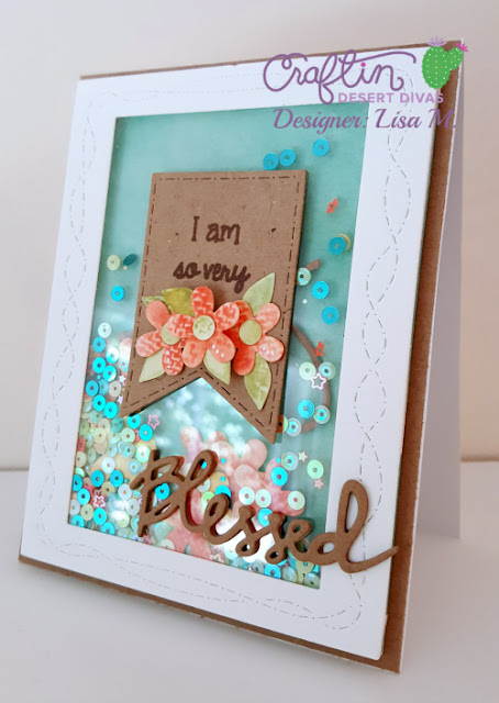 SO Very Blessed handmade shaker card with die cut blessed greeting