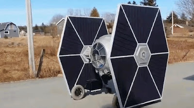 Hubbards, Nova Scotia creative builder Allan Carver built a giant remote controlled electric Star Wars TIE fighter from scratch that people can ride around in.