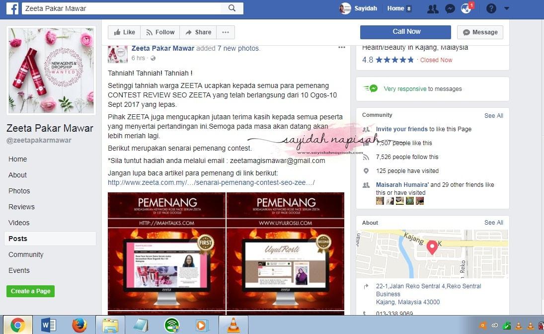 Menang Tempat Ke-7 Contest SEO Blogger ZEETA!