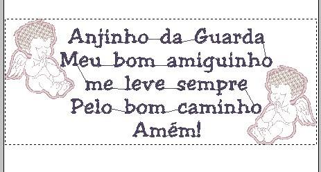 Oração Anjo da Guarda Amiguinho - Bordado Grátis