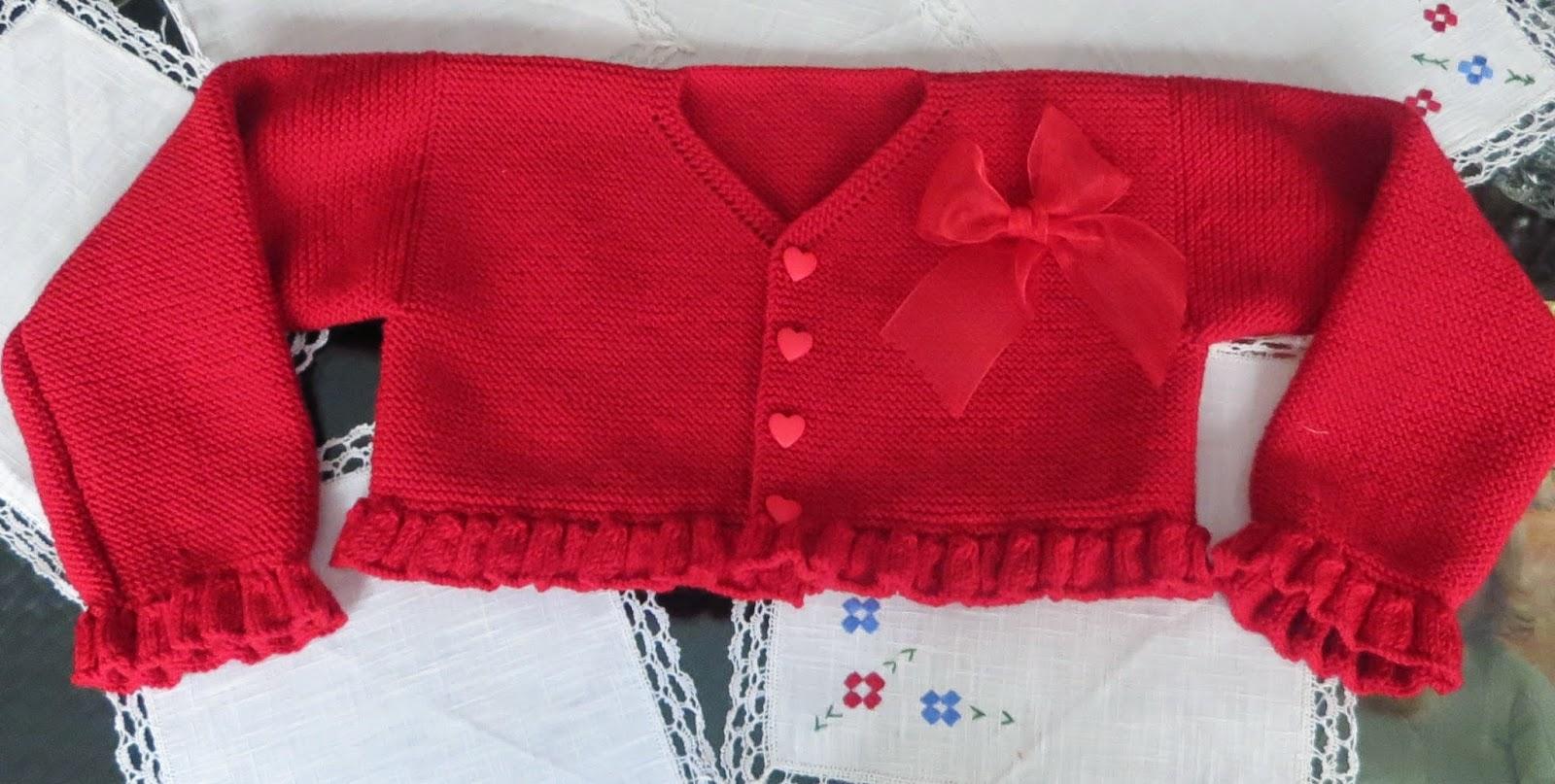 Las agujas de majos chaqueta b sica en rojo - Tejer chaqueta bebe 6 meses ...
