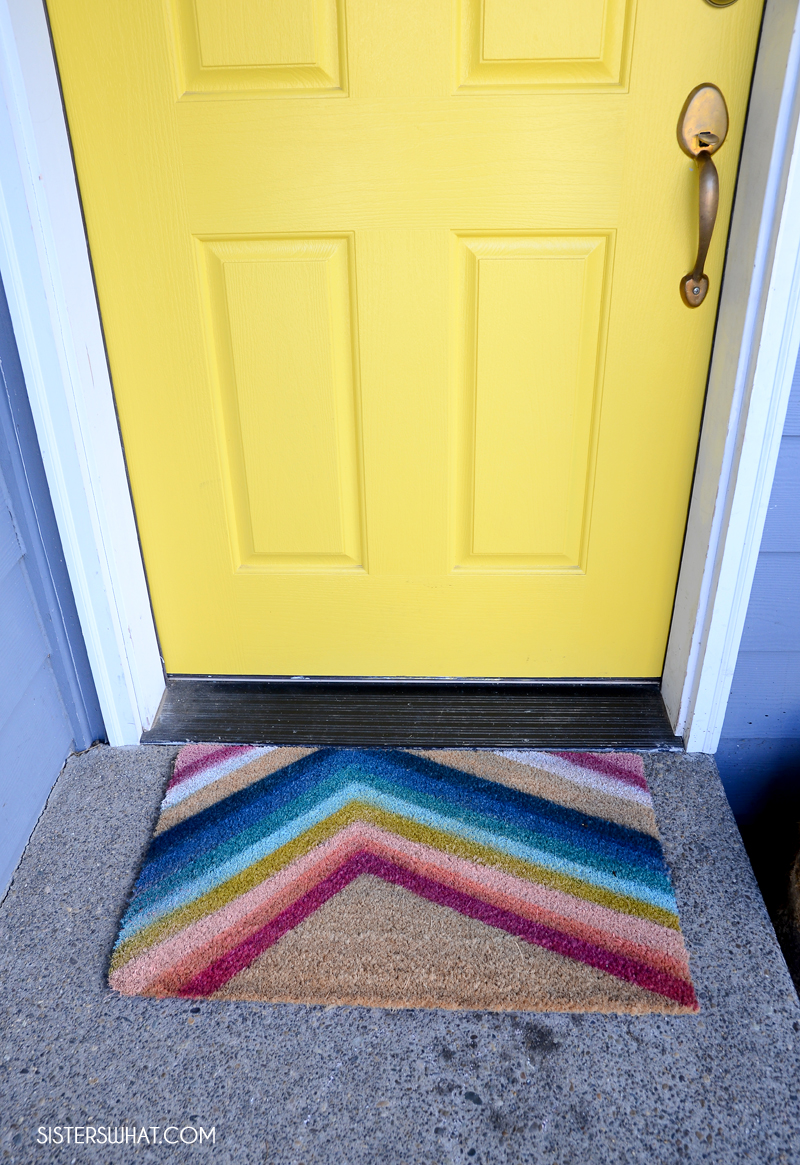 diy front doormat rainbow spray paint mat