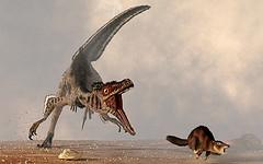 Mamífero ancestral escapando de un velocirraptor