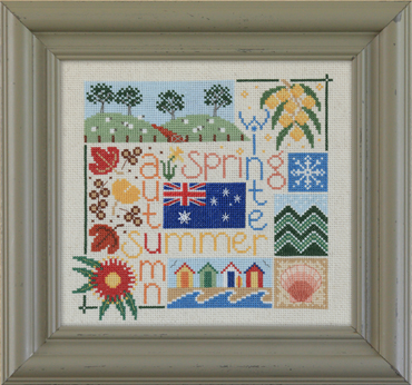 Australian seasonal four seasons Australia cross stitch pattern flowering gum wattle mornington peninsula beach boxes