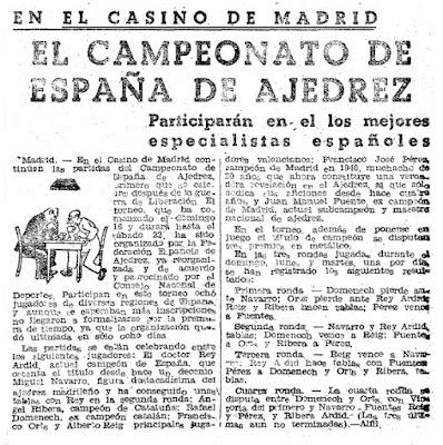 Torneo Nacional de Madrid 1941, recorte de El Mundo Deportivo