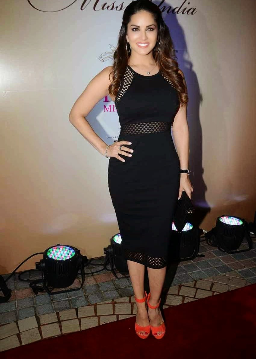 Sunny Leone Latest Stills In Black Dress