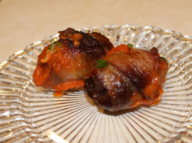 Chorizo Stuffed Dates with Red Pepper Sauce