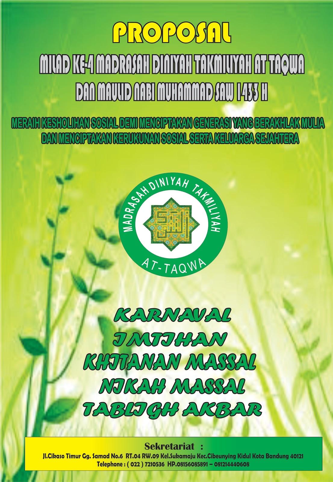 Madrasah At Taqwa Cikaso Rw 09 Bandung Proposal Milad Ke 4 Sunatan