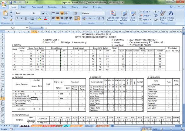 Laporan Bulanan SD-MI dan TK-PAUD Format Microsoft Excel
