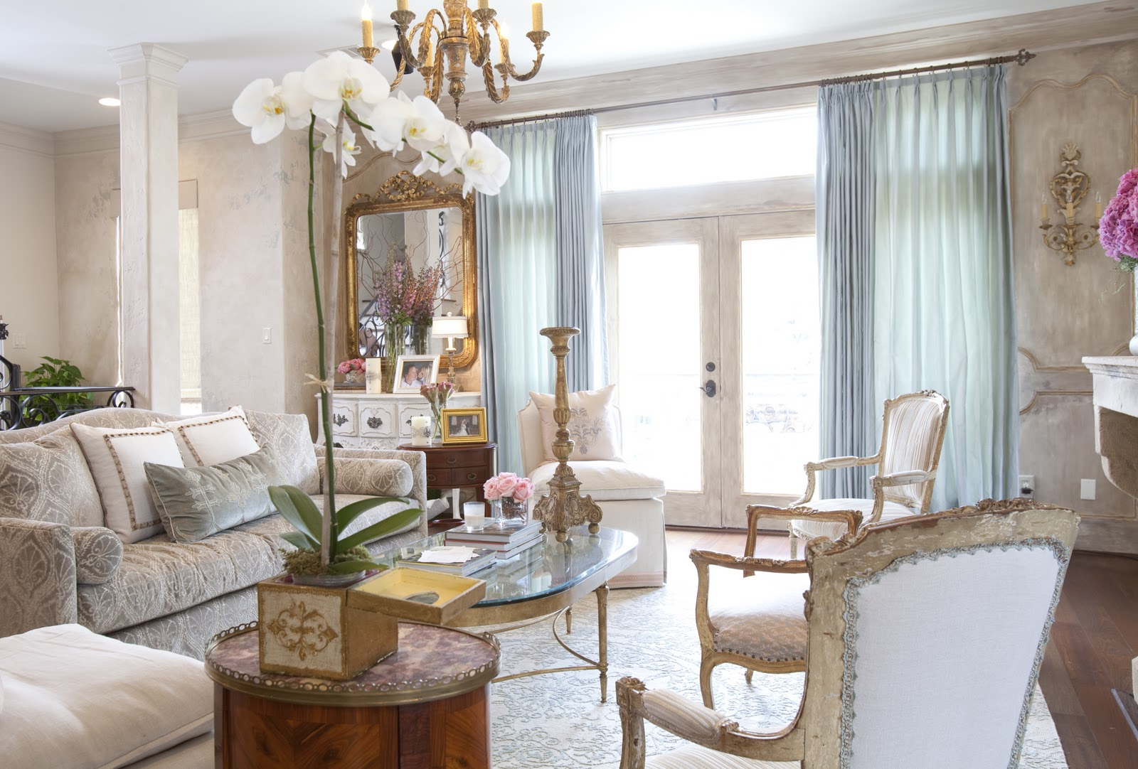 interesting french style white living room | Dodson Interiors: Parisian Chic Townhouse