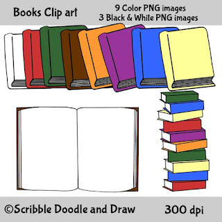 clipart of books for teachers to use for making printables