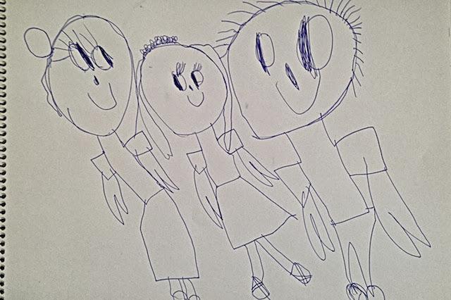 Viisivuotiaan lapsen piirtämä perhepotretti - Familyportrait drawn by a five-year-old child