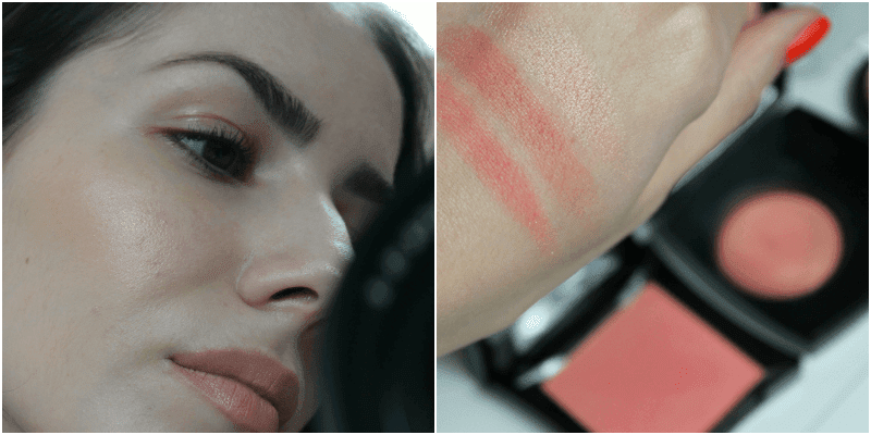 E.L.F. BAKED BLUSH PEACHY CHEEKY vs chanel in love vs illamasqua tremble swatches comparisson