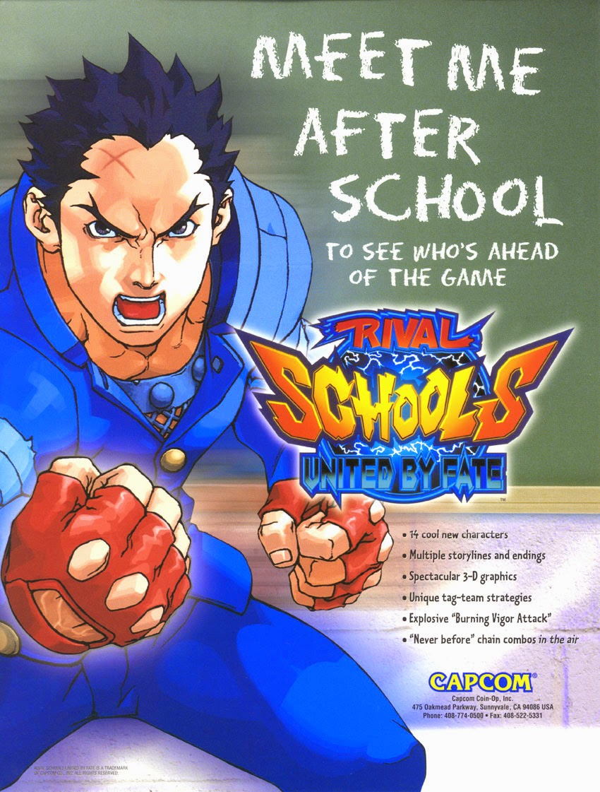 Rival School: United by Fate+game+arcade+portable+fighting 3d+cover flyer+art