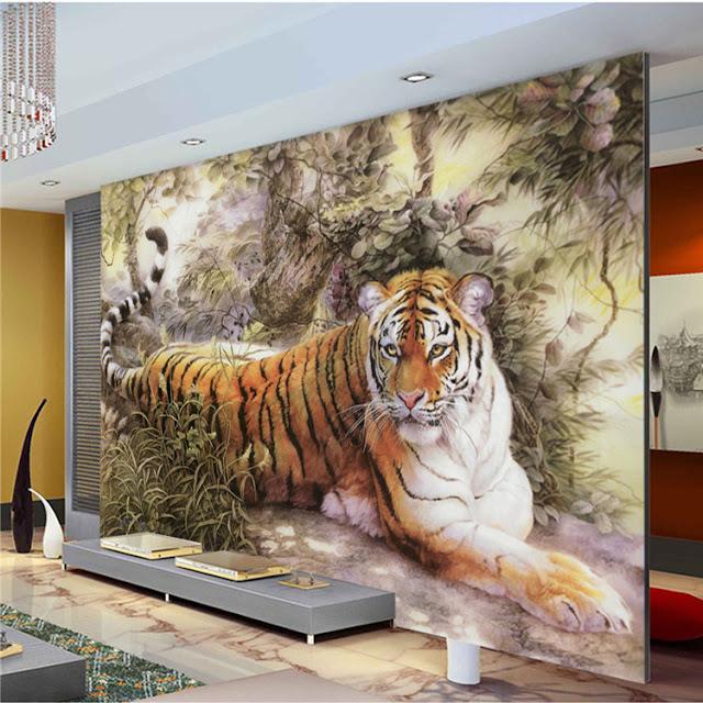 tiger tapet vardagsrum fototapet