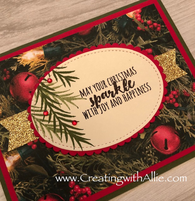 Check out the video tutorial with some AMAZING tips and tricks for making cards using Stampin' Up! Christmas Pines stamp set!  You will love how quick and easy this is to make!  www.creatingwithallie.com #stampinup #alejandragomez #creatingwithallie #videotutorial #cardmaking #papercrafts #handmadegreetingcards #fun #creativity #makeacard #sendacard #stampingisfun