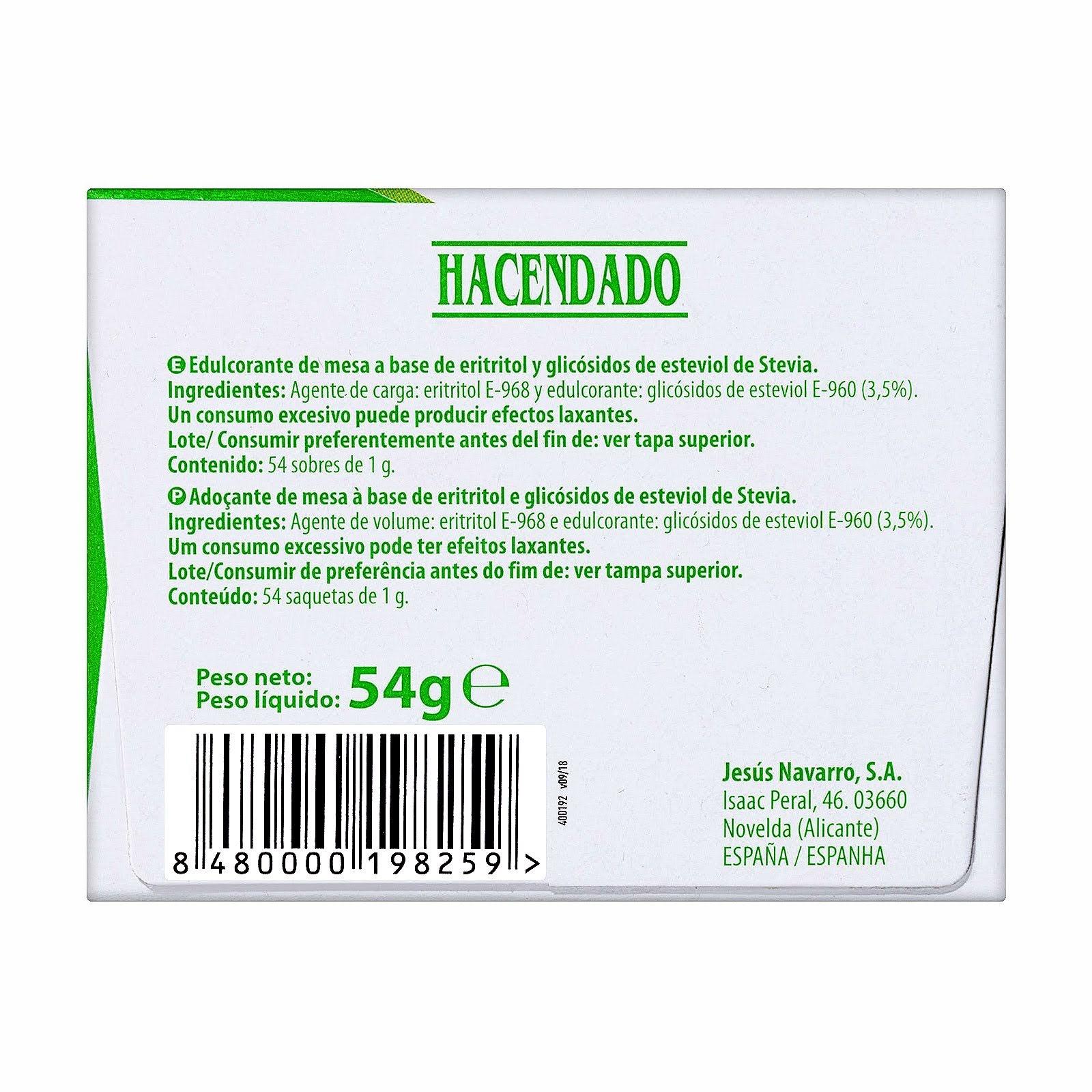 Edulcorante de stevia granulado en sobres Hacendado