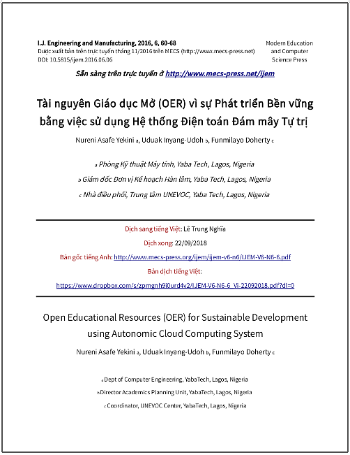 'Tài nguyên Giáo dục Mở (OER) vì sự phát triển bền vững bằng việc sử dụng Hệ thống Điện toán Đám mây Tự trị' - bản dịch sang tiếng Việt