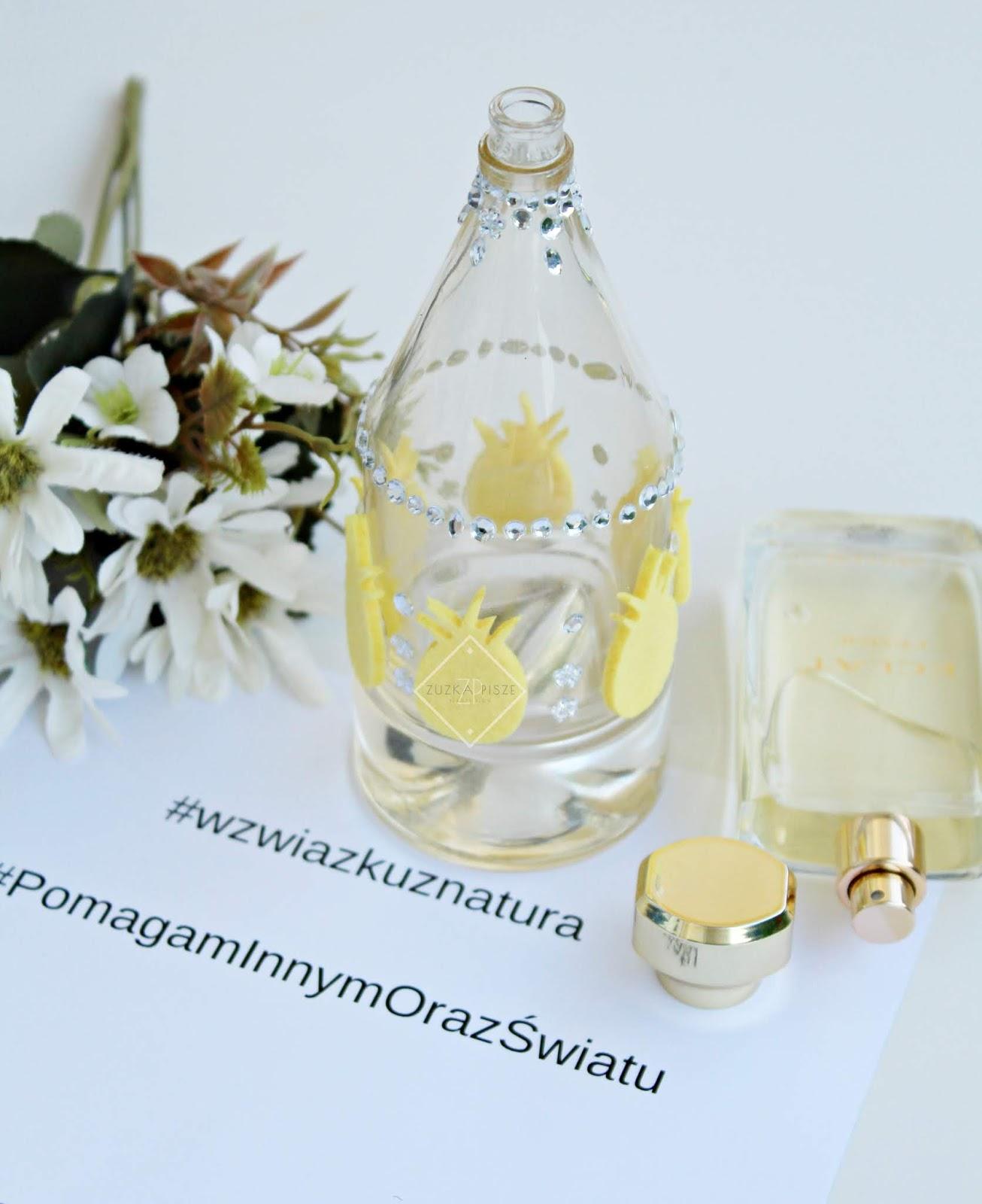 co zrobić z pustym flakonem po perfumach, wazon diy