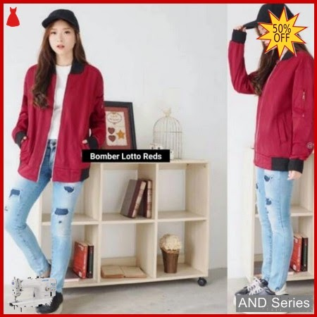 AND435 Jaket Wanita Bomber Lotto Merah BMGShop