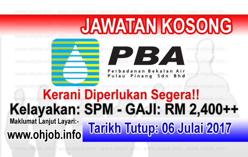 Jawatan Kerja Kosong Perbadanan Bekalan Air Pulau Pinang - PBA logo www.ohjob.info julai 2017