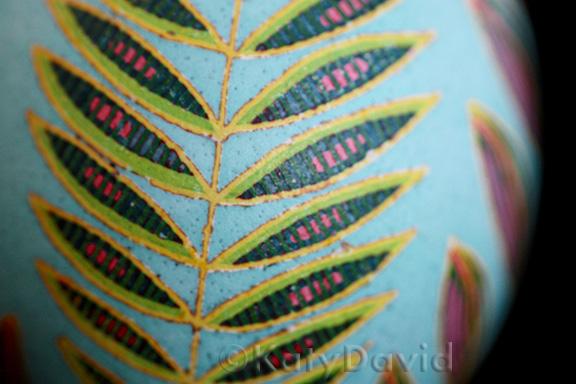 "©Katy David 2016 ""Red Pineapple"" Chicken eggshell, aniline dye, varnish"