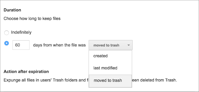 Retain files moved to trash