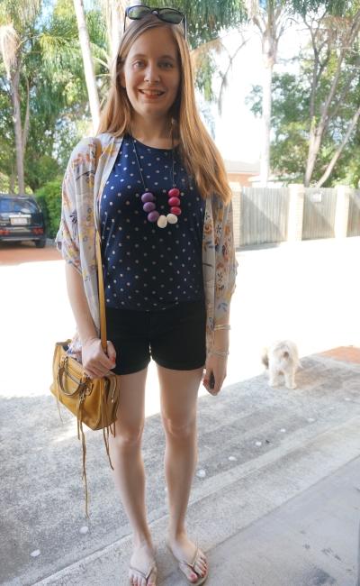 print mixing summer outfit polka dot gold foil tee floral kimono Rebecca Minkoff micro Regan | awayfromblue