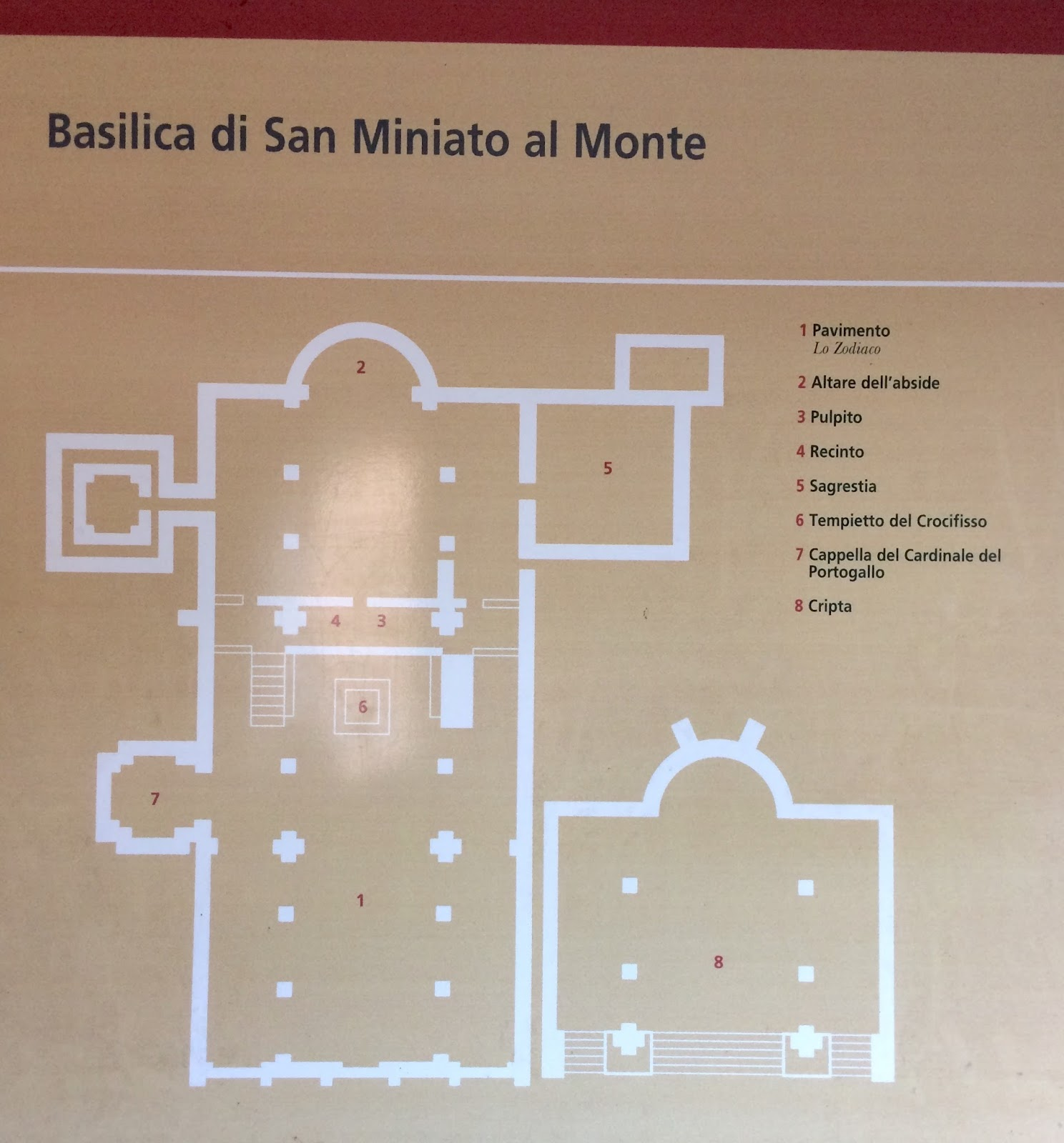 san miniato al monte diagram of the church and the crypt below the alter [ 1488 x 1600 Pixel ]