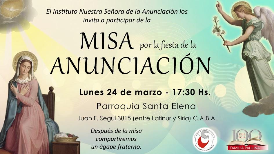 Familia Paulina Invitacion Misa Por La Fiesta De La Anunciación