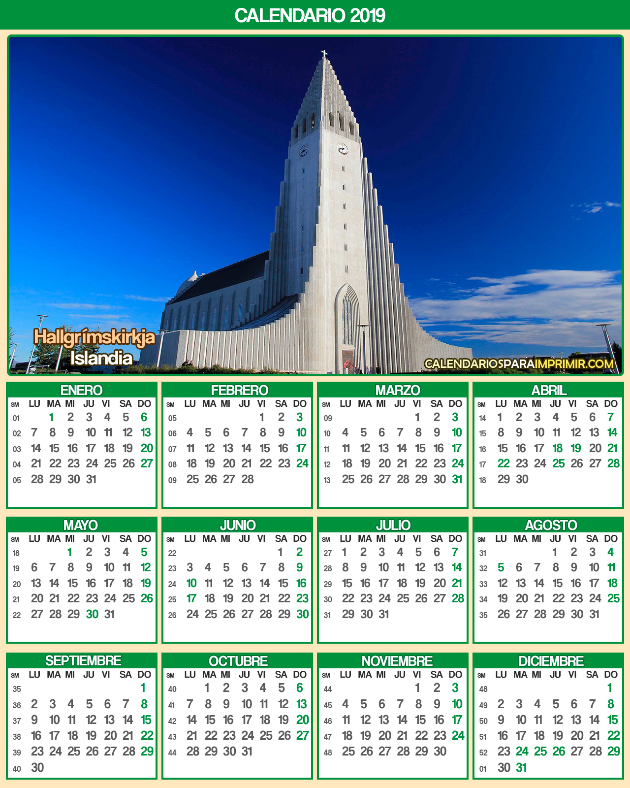 calendario islandia  2019