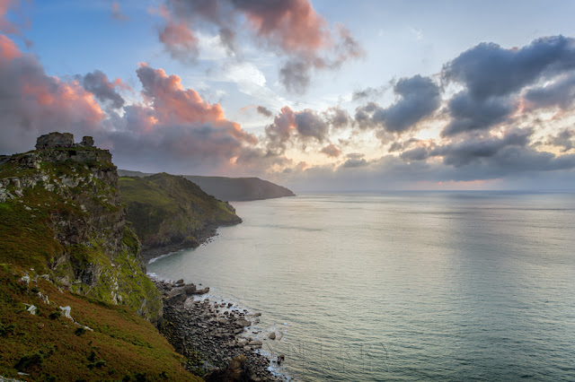 Sunset clouds over the Exmoor National Park coastline at Valley of Rocks