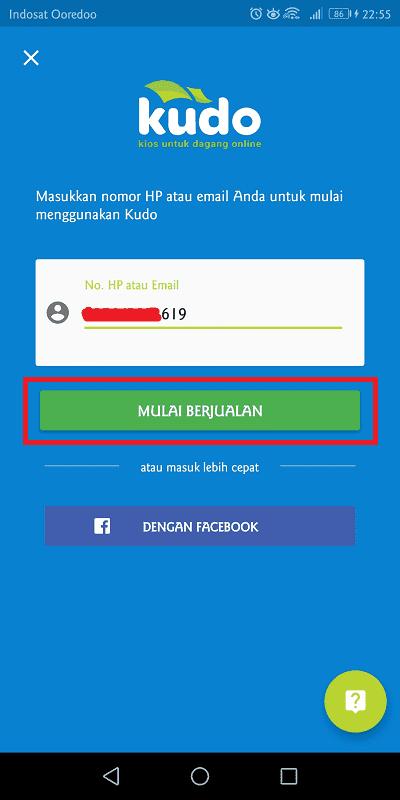 masukkan nomor telepon yang digunakan untuk identitas akun kudo