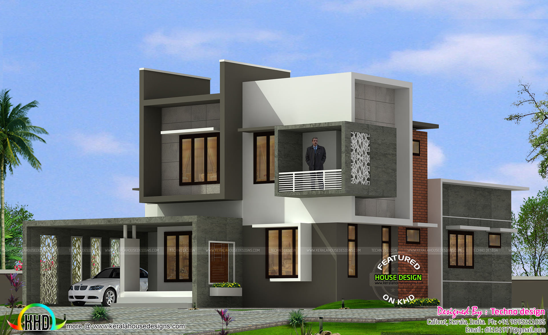 1927 square feet box type home kerala home design and for Modern box type house design