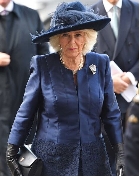 The Countess of Wessex wore Roland Mouret Millington wool crepe coat. The Duchess of Cornwall and the Duke of Cambridge