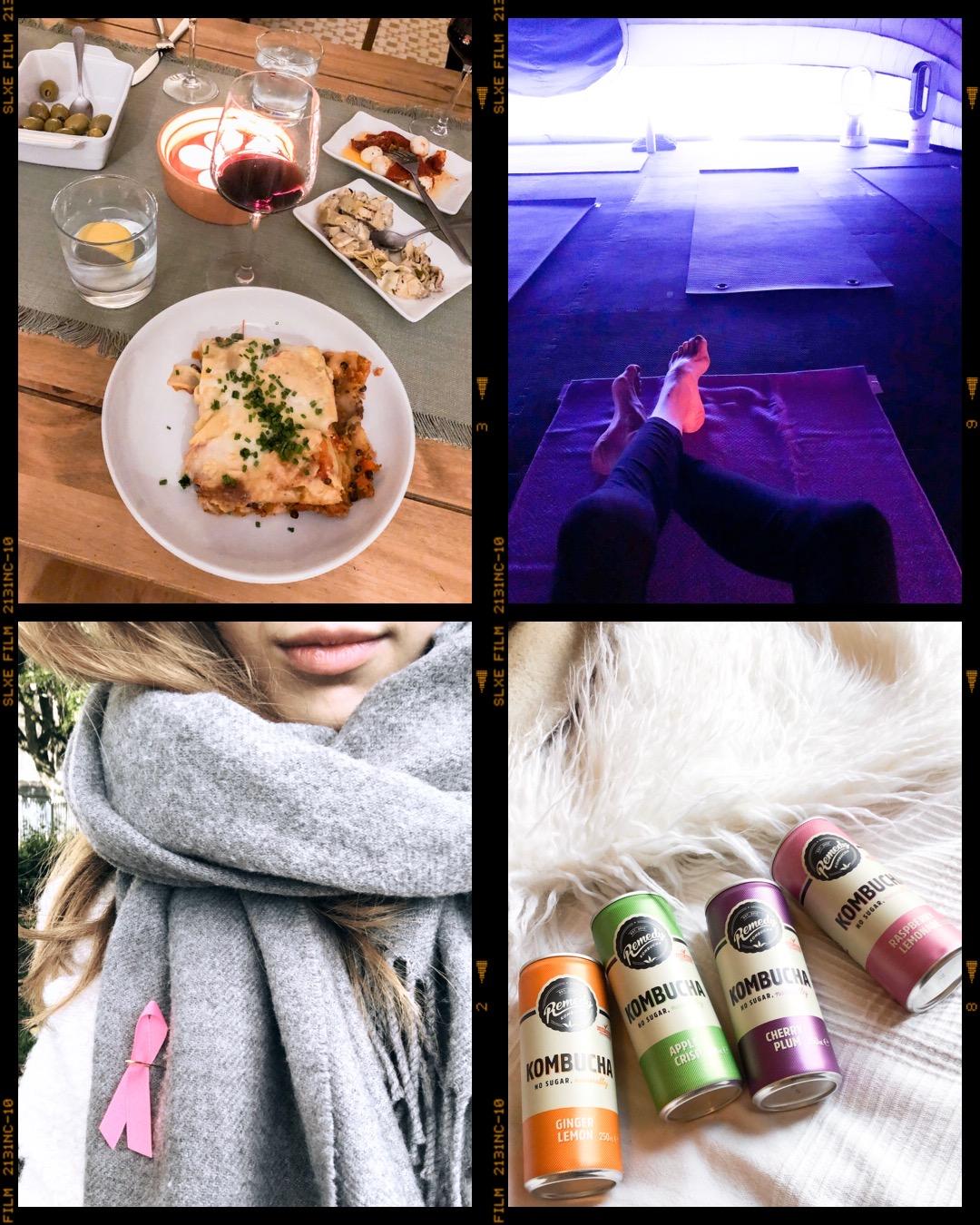 Vegan lasagne, Hotpod yoga, Pink Ribbon, Remedy Kombucha - vegaani lasagne, jooga, Roosa Nauha, kombucha