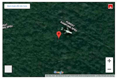 vị trí chiếc máy bay trên bản đồ của google