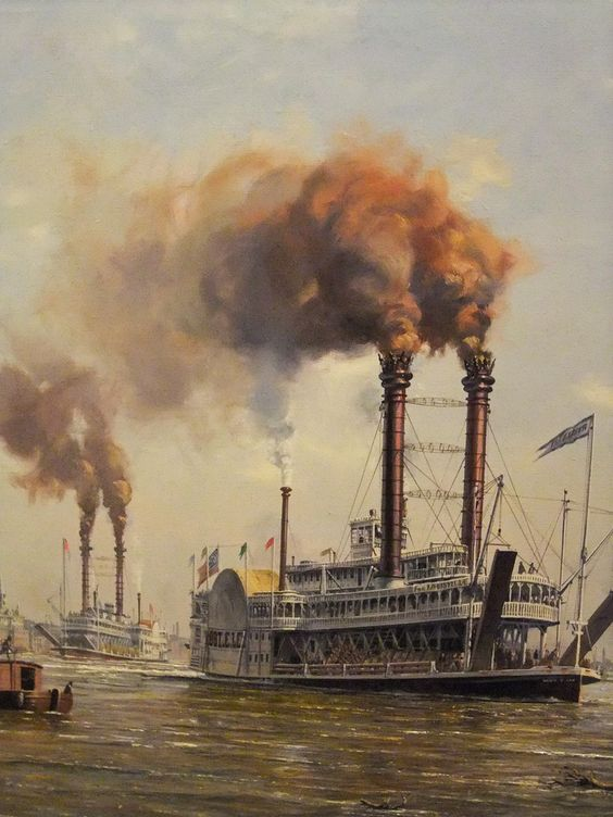steam boats in Mississippi river