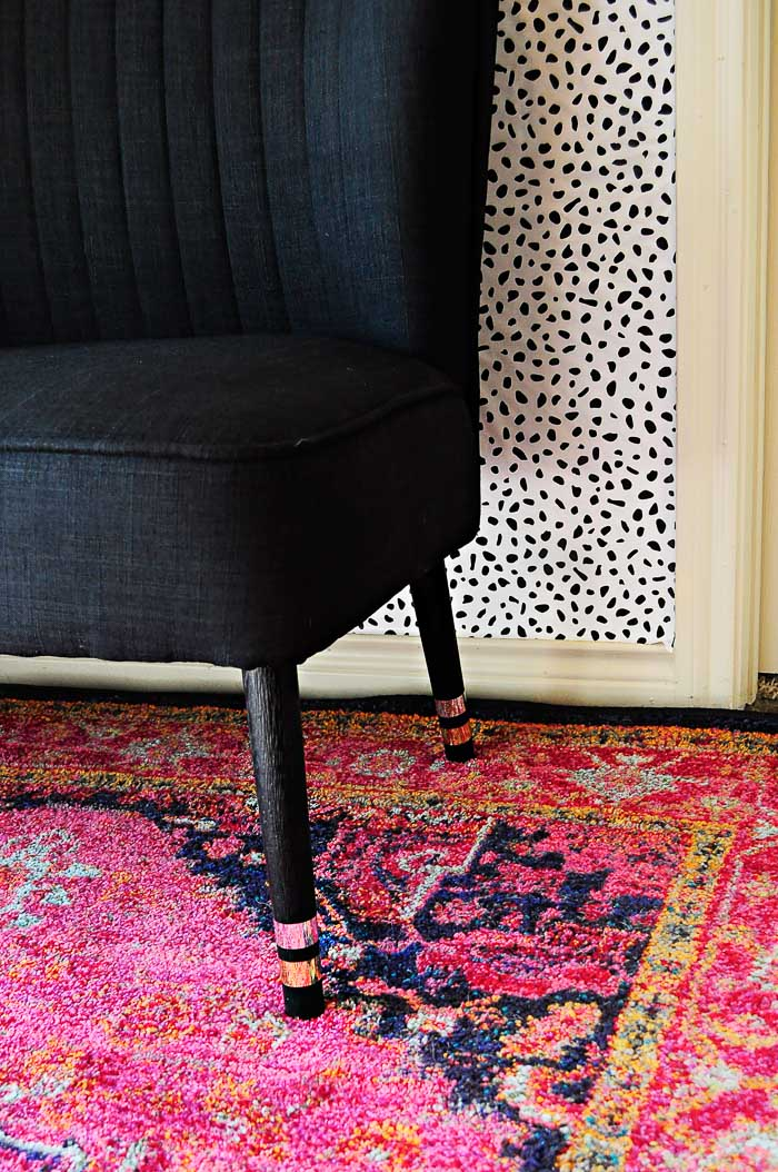 Add some pizazz to furniture legs using metallic craft or washi tape.