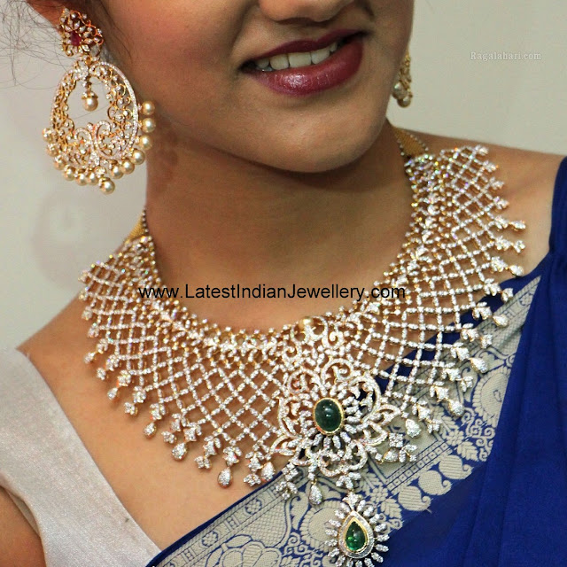 Indian Diamond Necklace Chand Balis