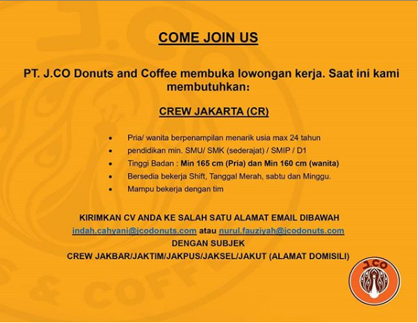 Lowongan Kerja PT J CO Donuts & Coffe Tingkat SMA SMK sederajat